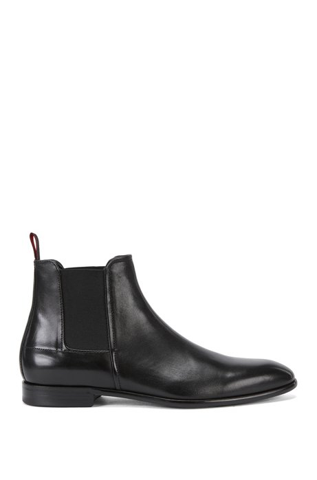 Formal Chelsea boots in rich leather, Black