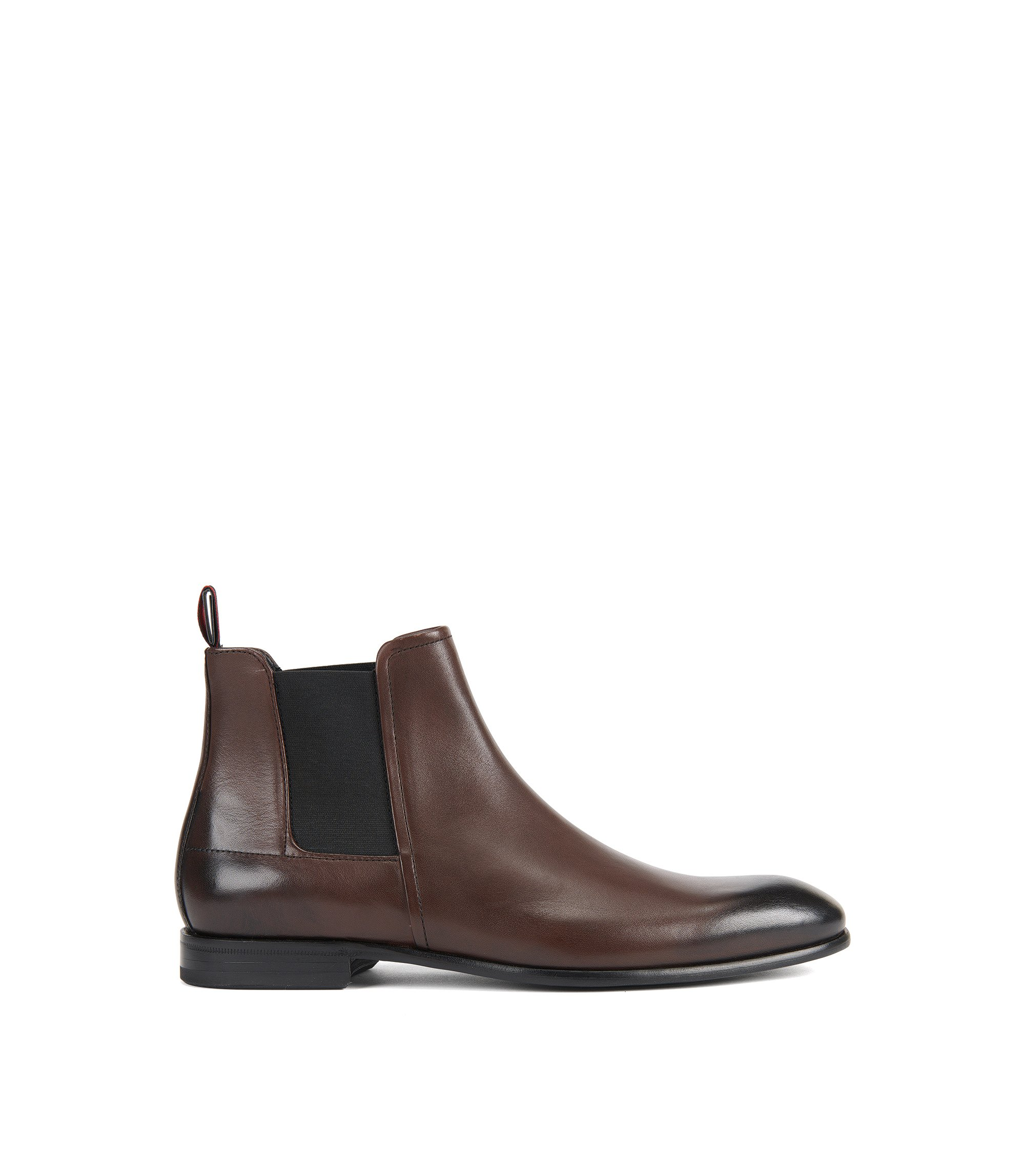 Formal Chelsea boots in rich leather, Dark Brown