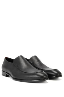 Leather loafers with piping detail , Black