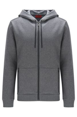 Relaxed-fit hoody in cotton with zip pockets, Grey