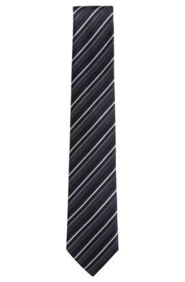 Cravate jacquard confectionnée en Italie, en soie à motif , Bleu foncé