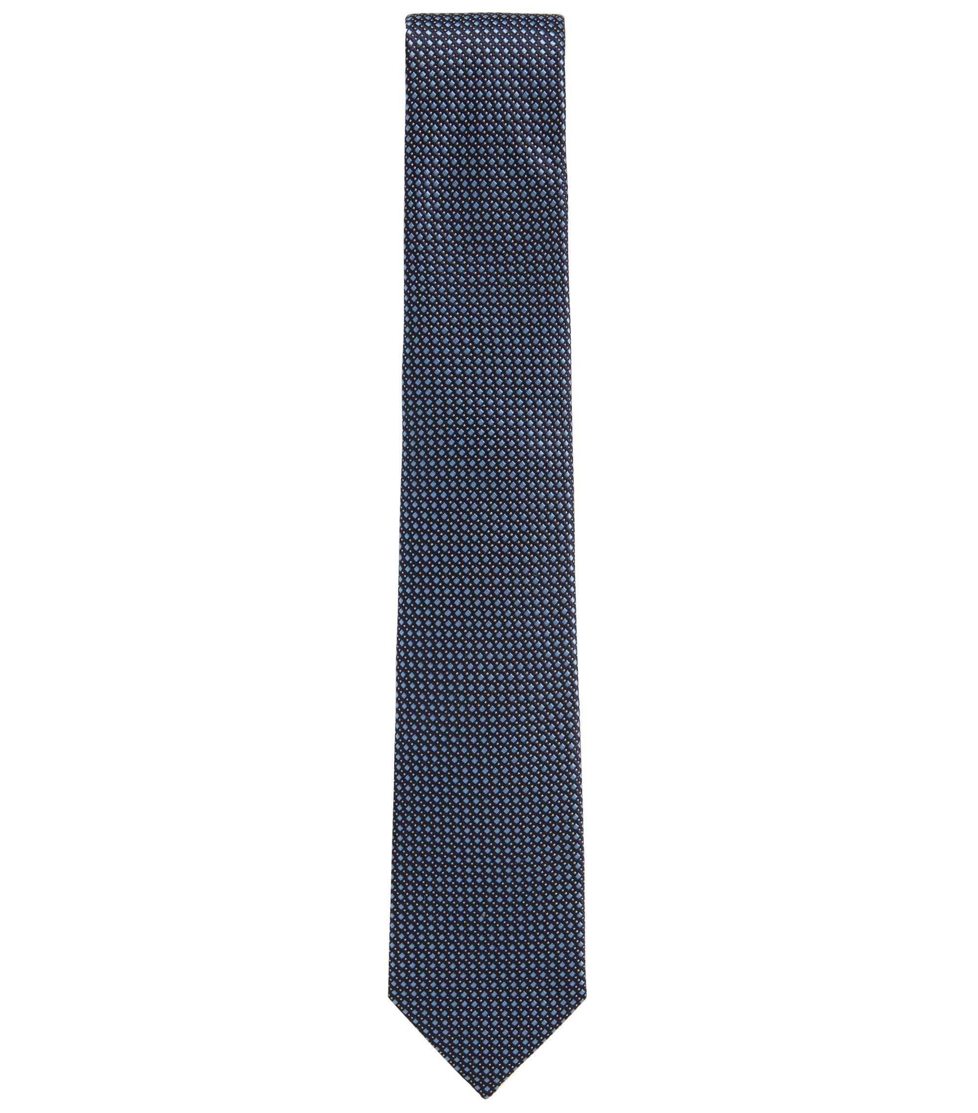 In Italien gefertigte Jacquard-Krawatte aus gemusterter Seide, Dunkelblau
