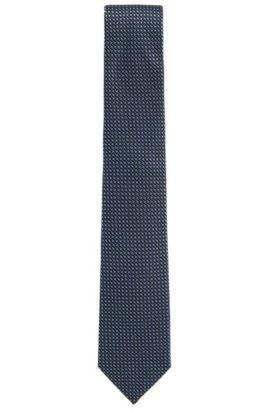 Cravatta jacquard in seta a disegni realizzata in Italia , Blu scuro