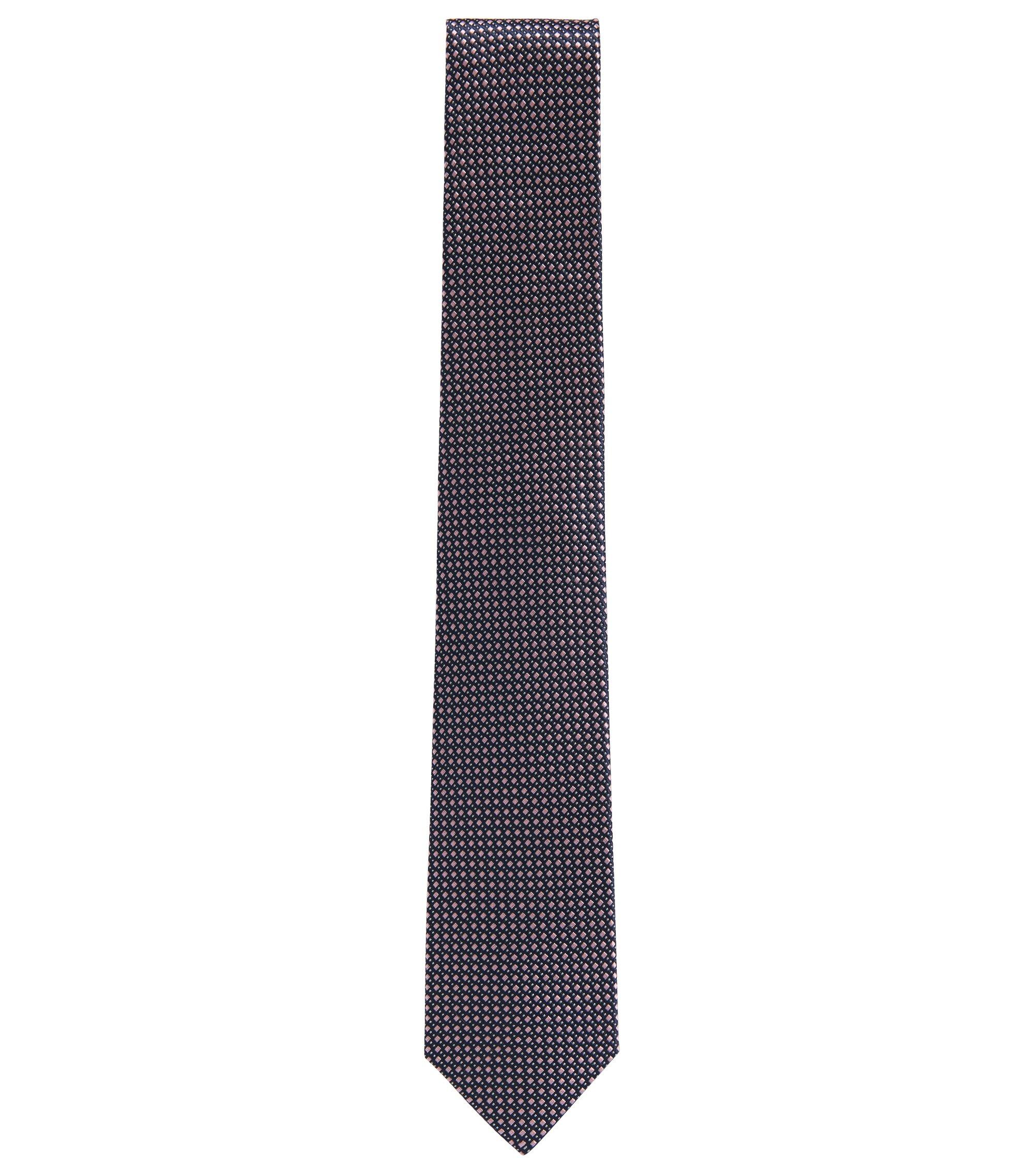 Cravate jacquard confectionnée en Italie, en soie à motif , Rose clair