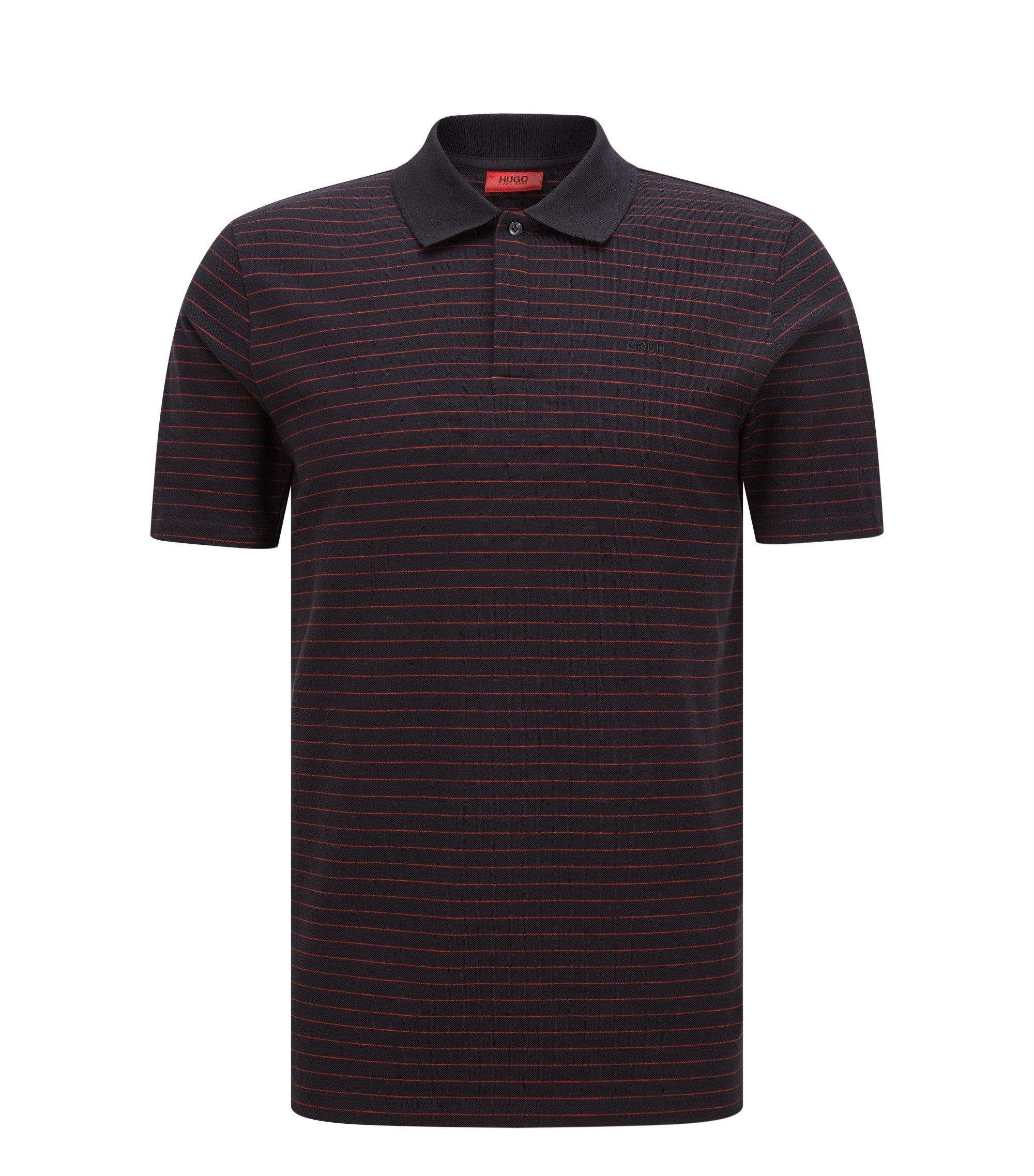 Regular-Fit Poloshirt aus Baumwolle mit Nadelstreifen, Schwarz