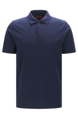 Polo regular fit in piqué a righe, Blu scuro