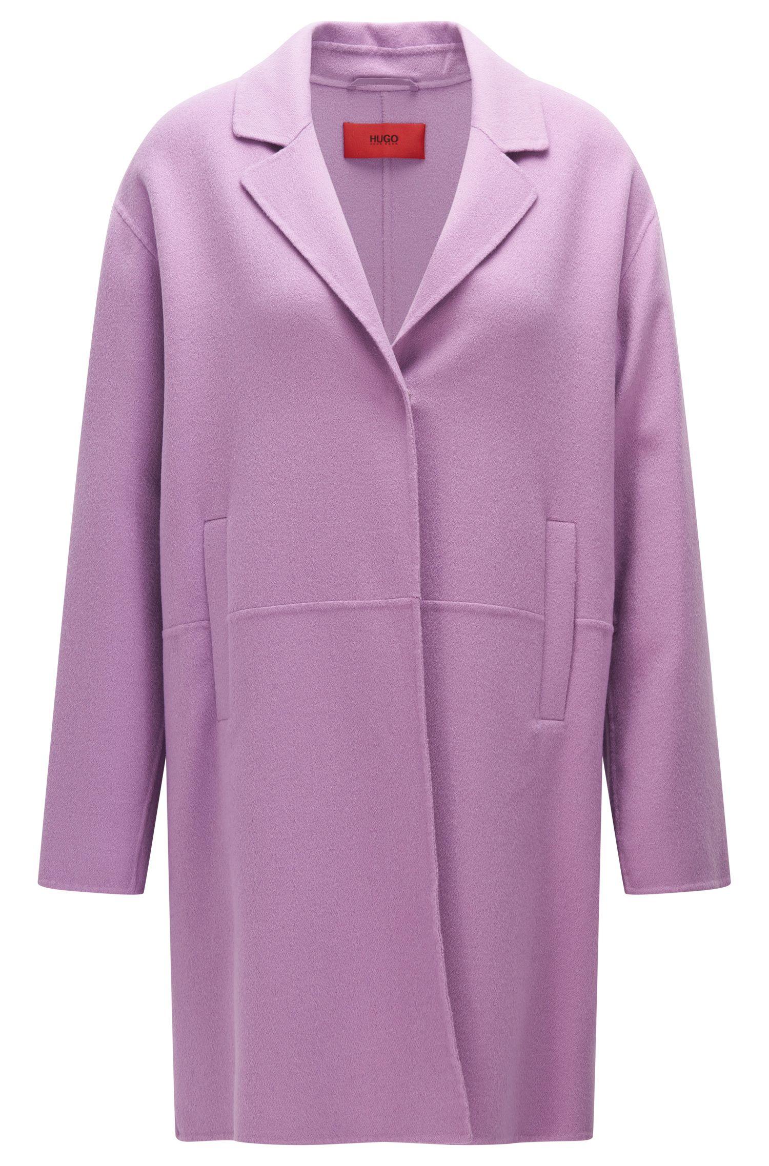 Manteau en laine vierge mélangée à boutons-pression invisibles: «Mysell-1»