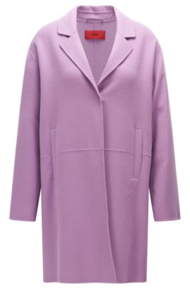 Coat in new-wool blend with concealed press stud: 'Mysell-1', Light Purple