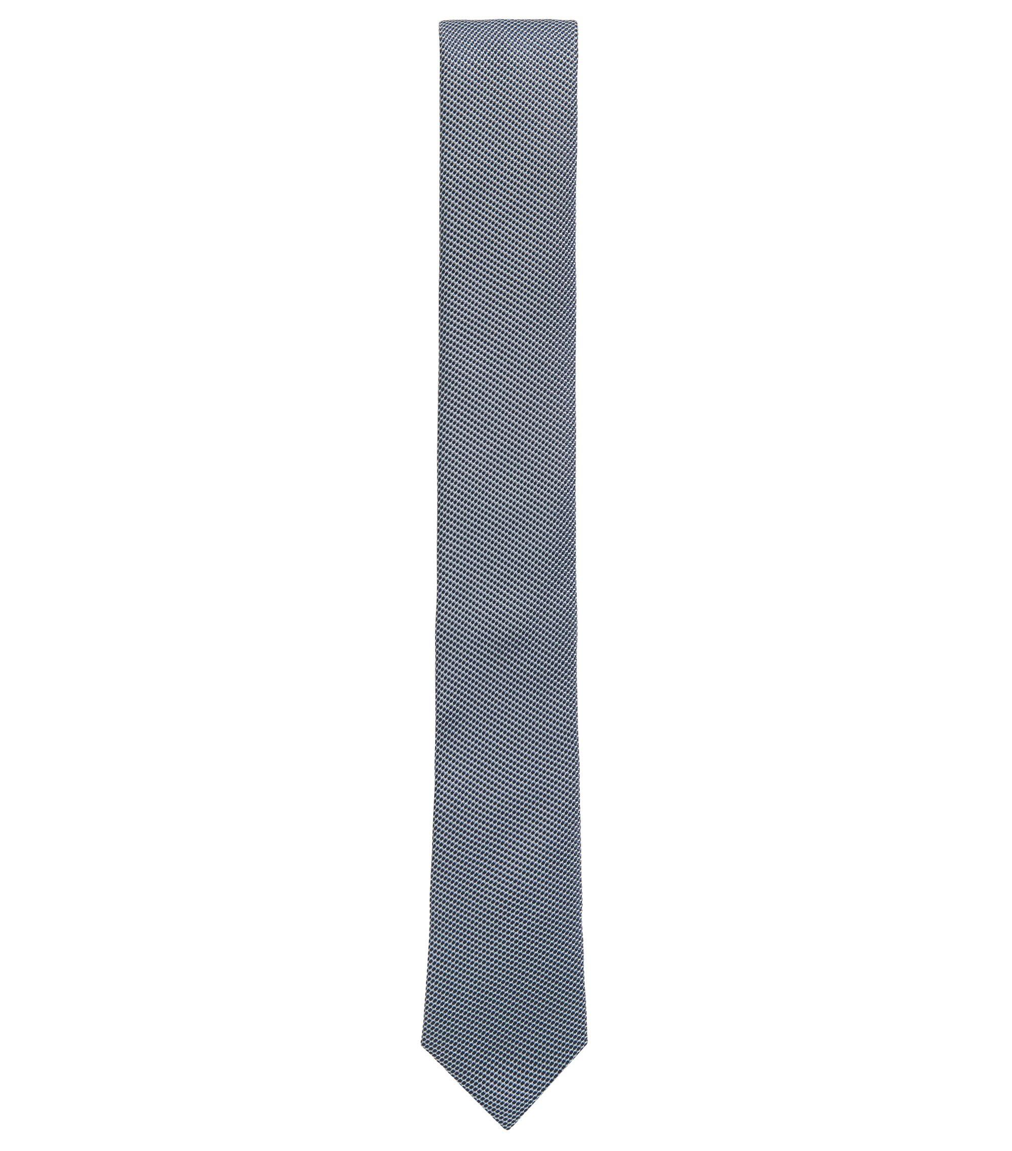 Cravate jacquard en soie à micro-motif contrastant, Bleu foncé