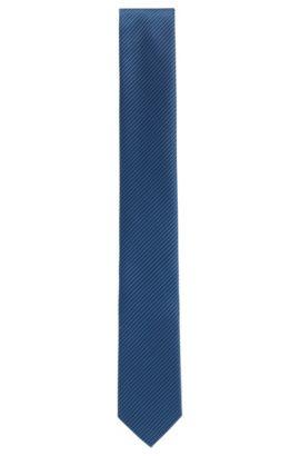Patterned tie in fine silk jacquard, Dark Blue