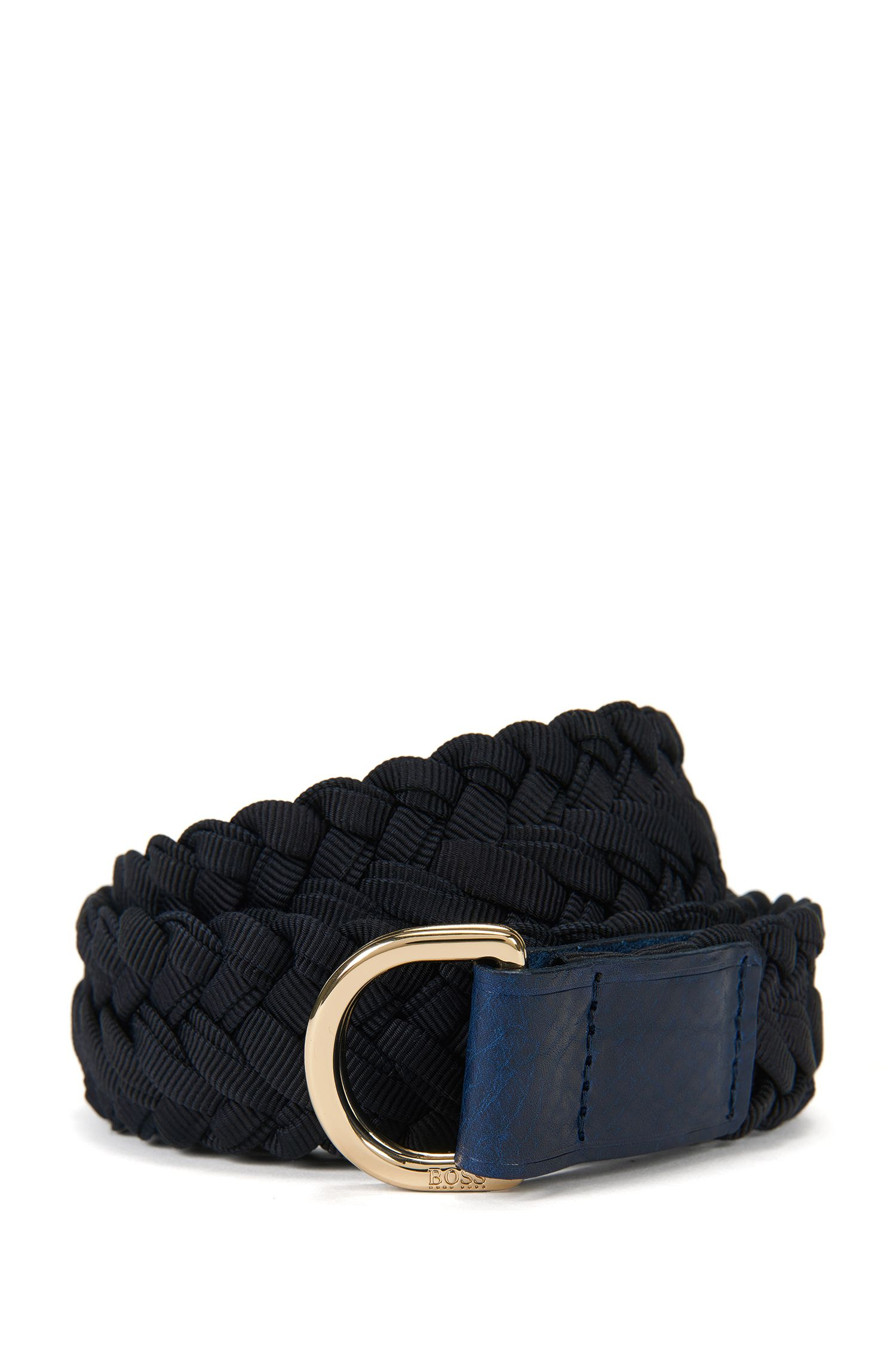 Woven belt with D-ring buckle