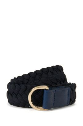 Woven belt with D-ring buckle, Dark Blue