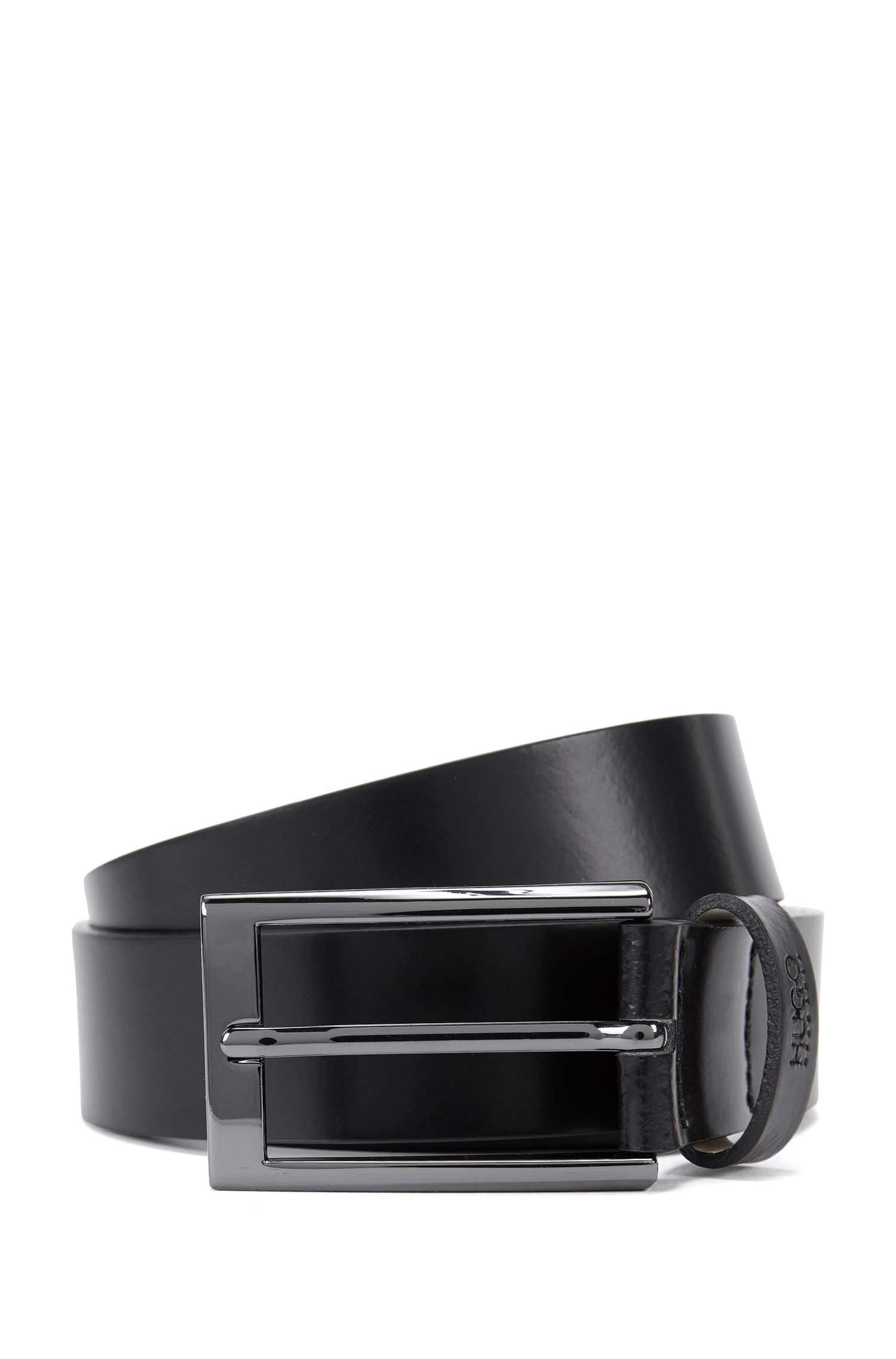 Leather belt with gunmetal hardware