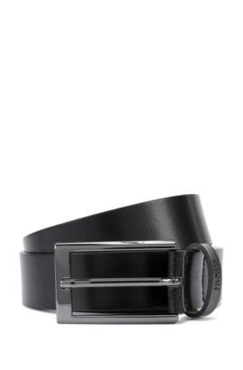 Leather belt with gunmetal hardware , Black