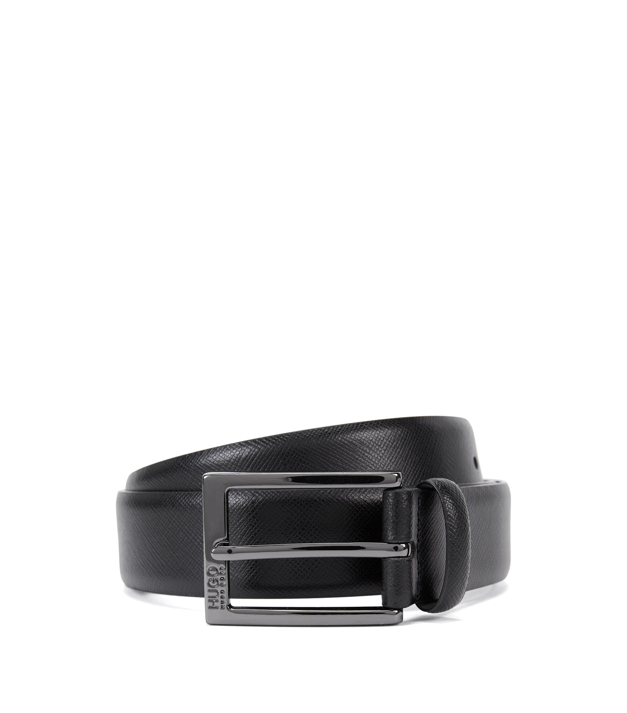 Saffiano leather belt with embossed detail , Black