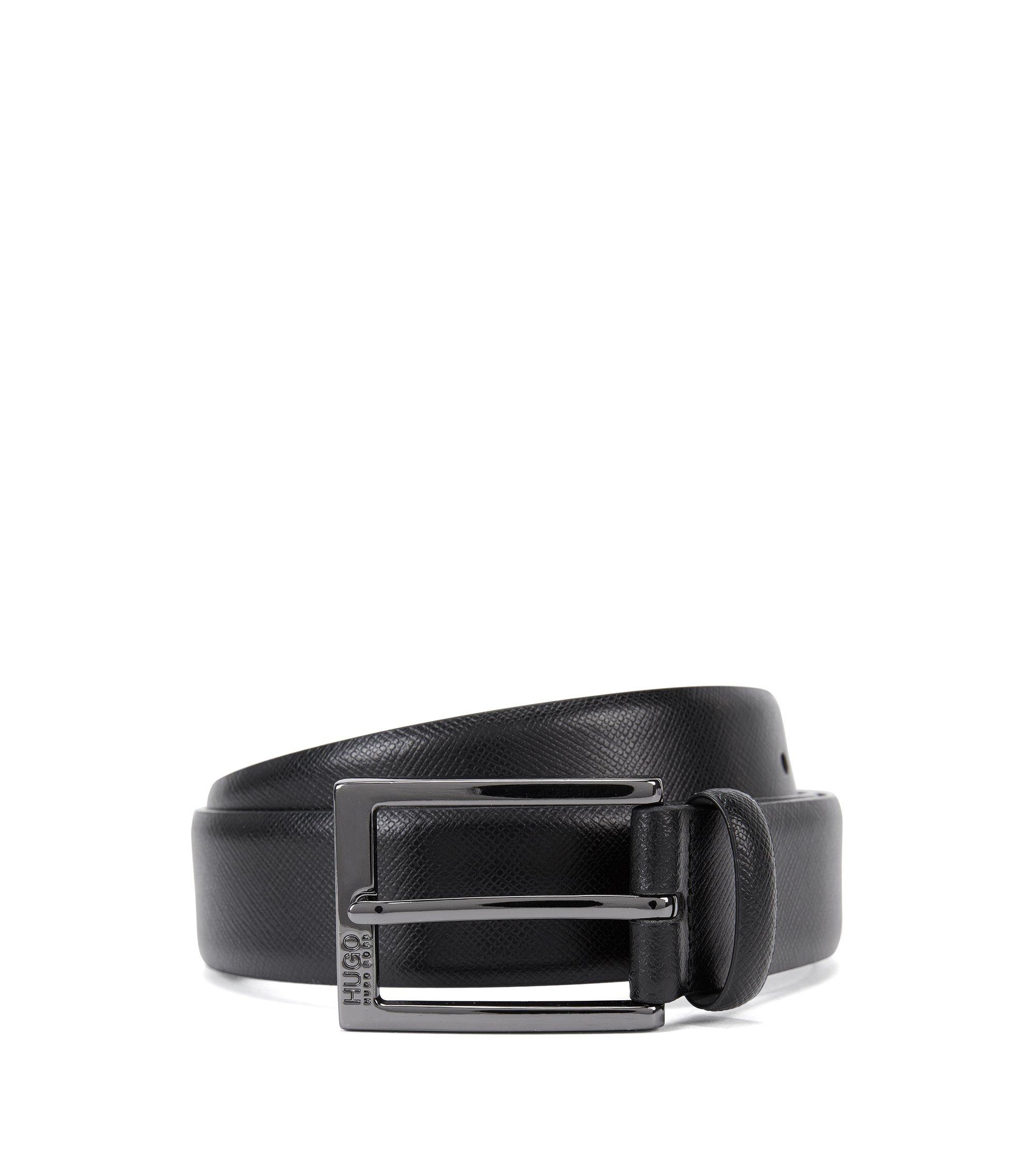 Gürtel aus Saffiano-Leder mit Logo-Detail , Schwarz