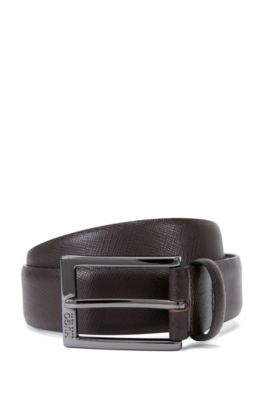 Saffiano leather belt with embossed detail , Dark Brown