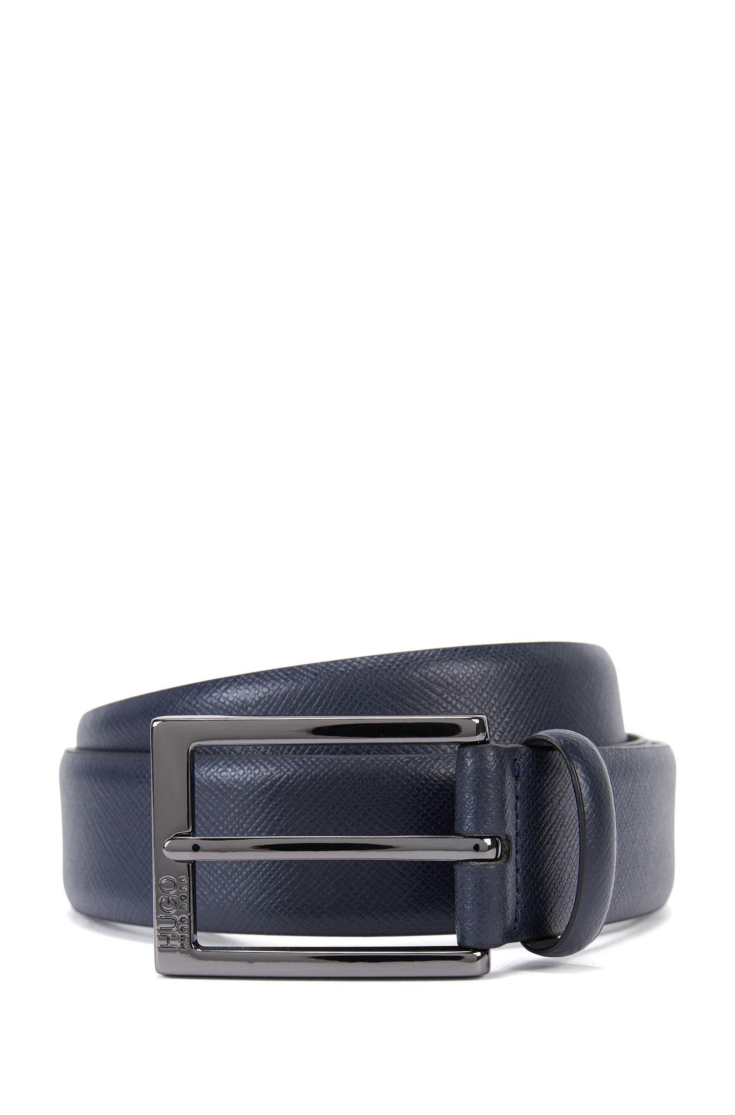 Cintura in pelle Saffiano con dettagli goffrati
