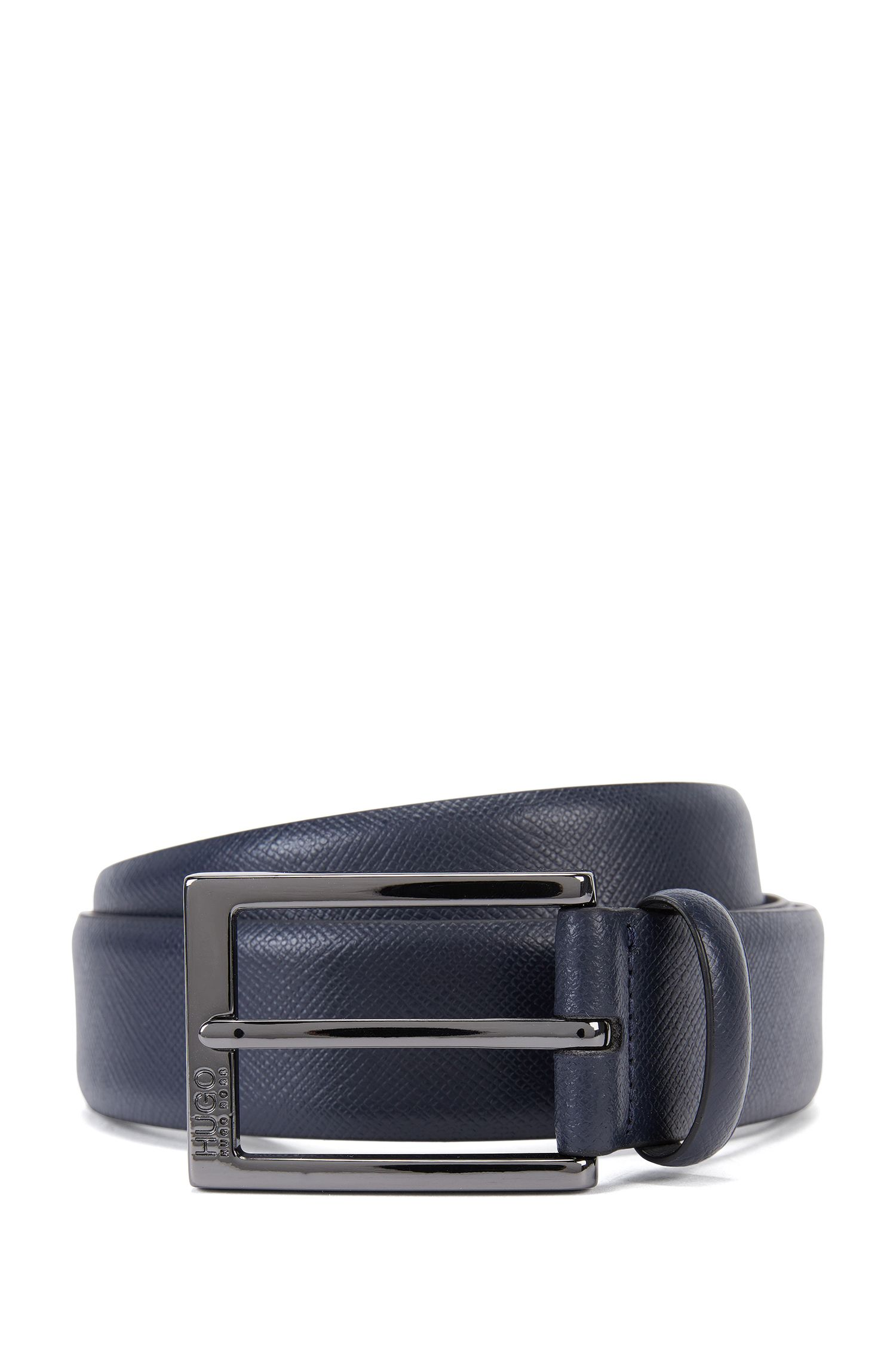 Saffiano leather belt with embossed detail
