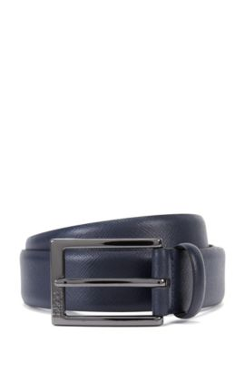 Saffiano leather belt with embossed detail , Dark Blue