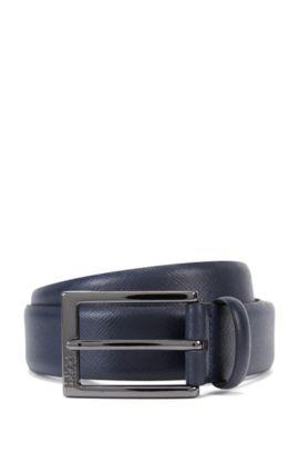Cintura in pelle Saffiano con dettagli goffrati , Blu scuro
