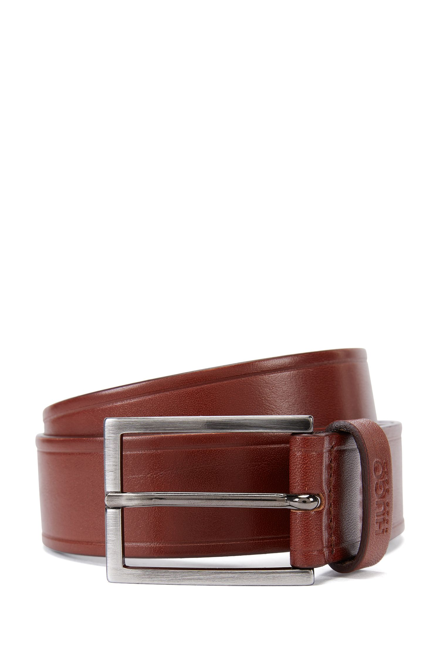 Leather belt with embossed details