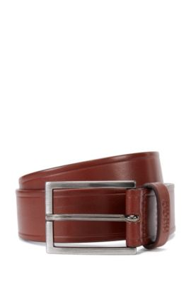 Leather belt with embossed details , Brown
