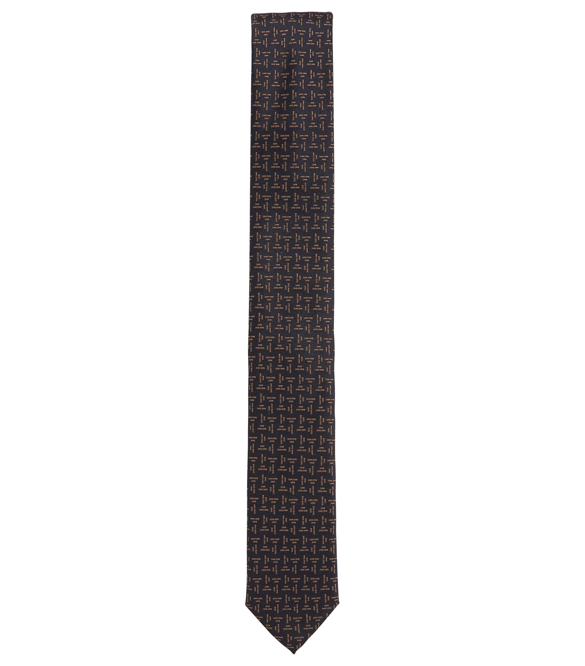 Zijden stropdas met gestructureerd contrastdessin, Donkerblauw