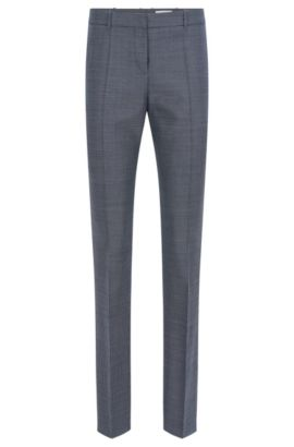 Finely patterned regular-fit trousers in stretchy new-wool blend with viscose: 'Tilunana', Patterned