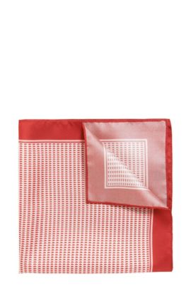 Patterned pocket square in fine silk, Red