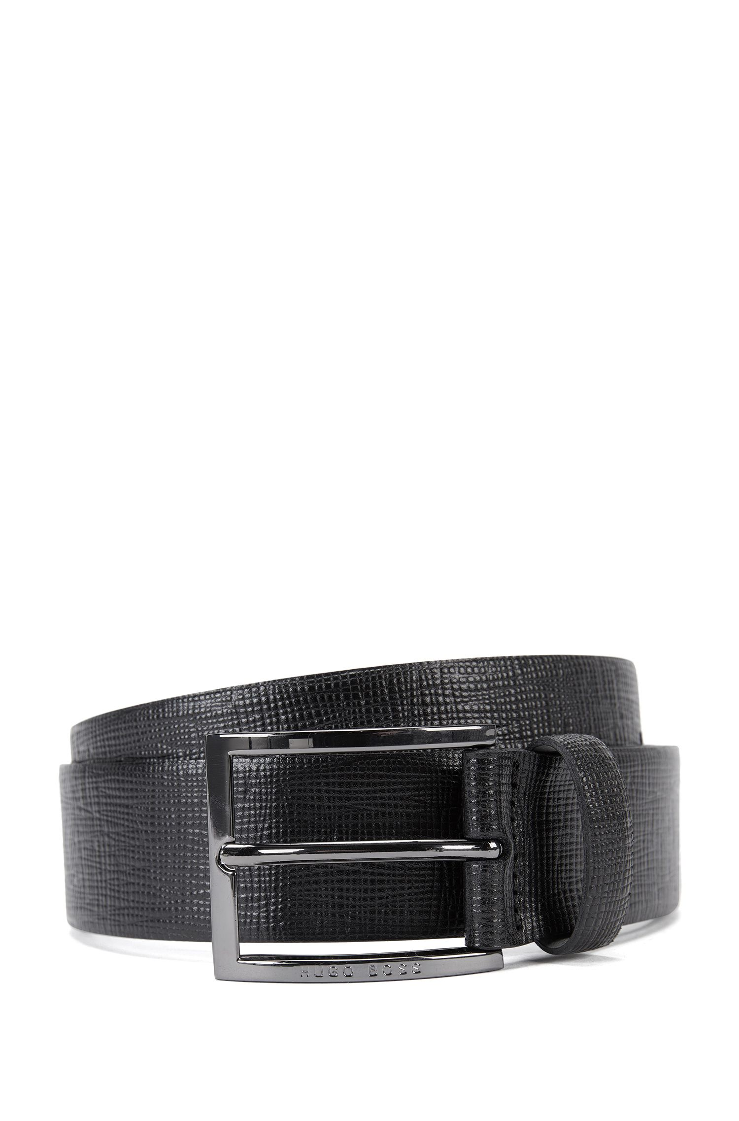 Leather belt with signature grain