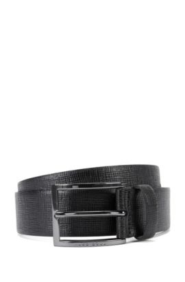 Leather belt with signature grain, Black