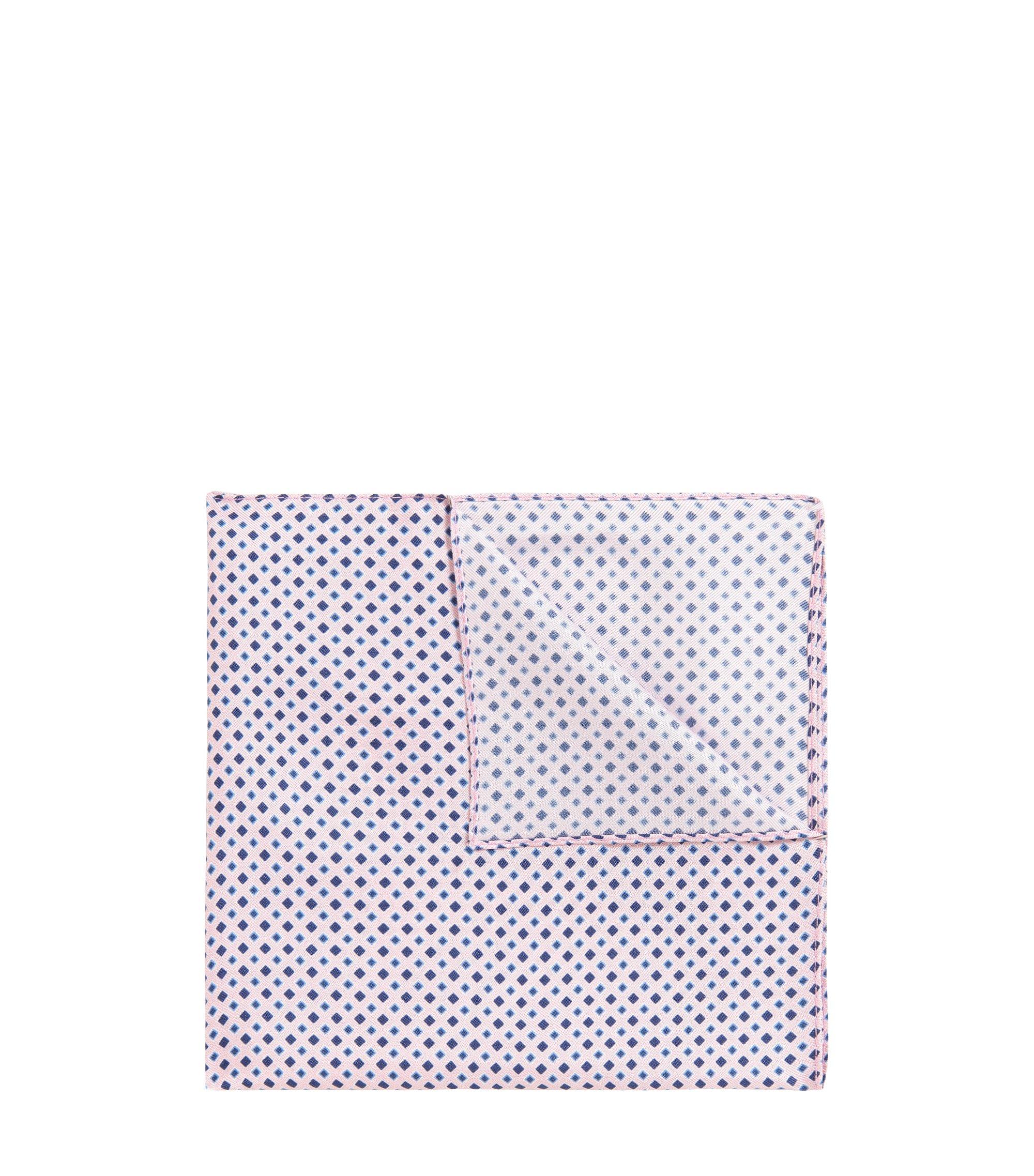 Pochet van fijne zijde met diamantprint, Lichtroze
