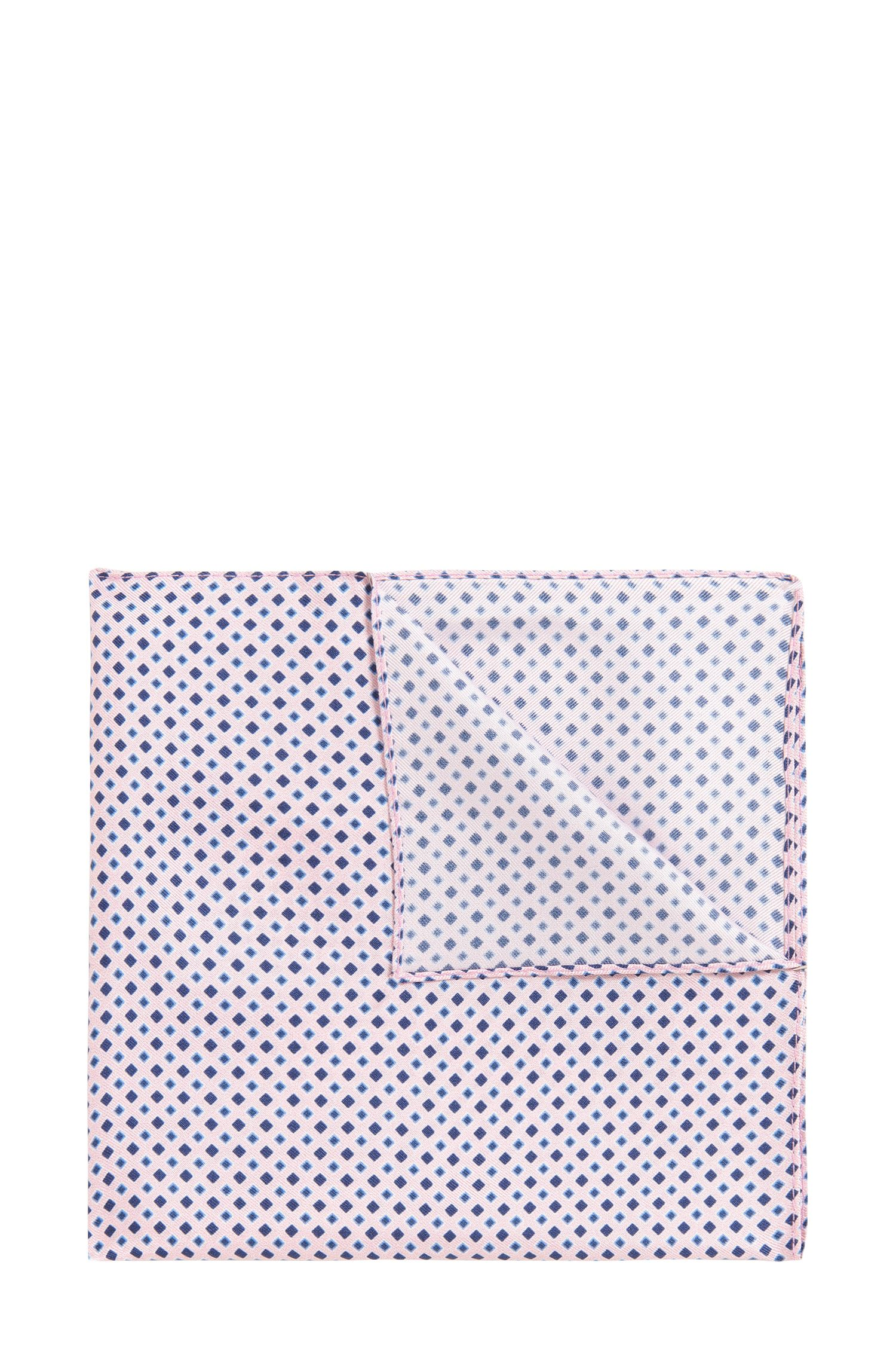Diamond-print pocket square in fine silk