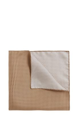 Silk pocket square with geometric pattern, Beige