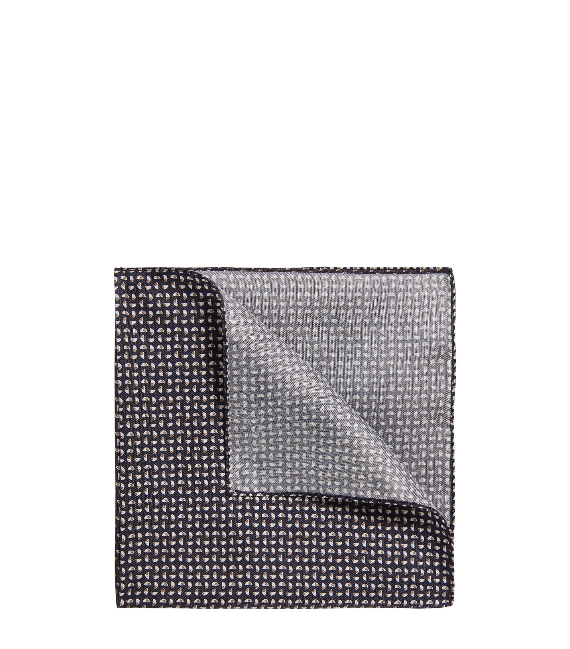 Pochette en soie à motif géométrique, Bleu foncé