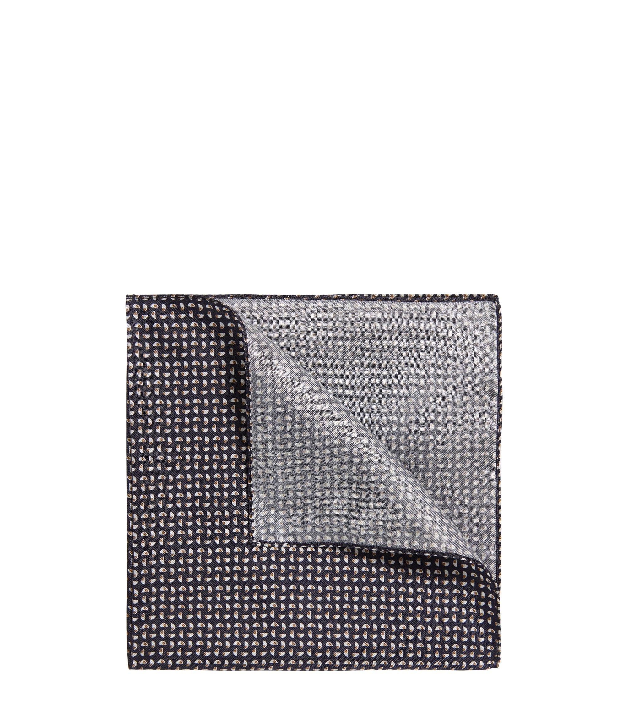 Silk pocket square with geometric pattern, Dark Blue