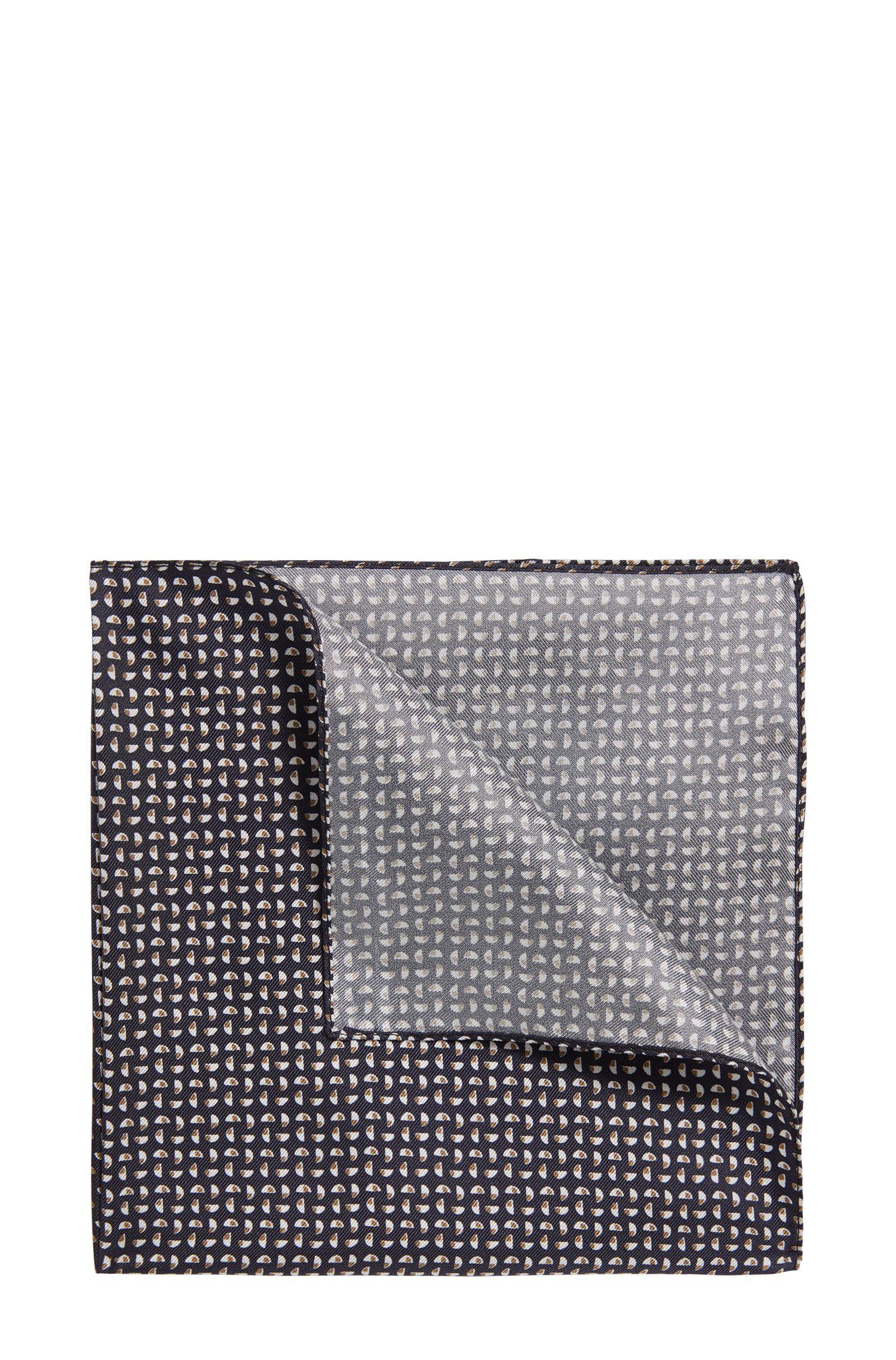 Silk pocket square with geometric pattern