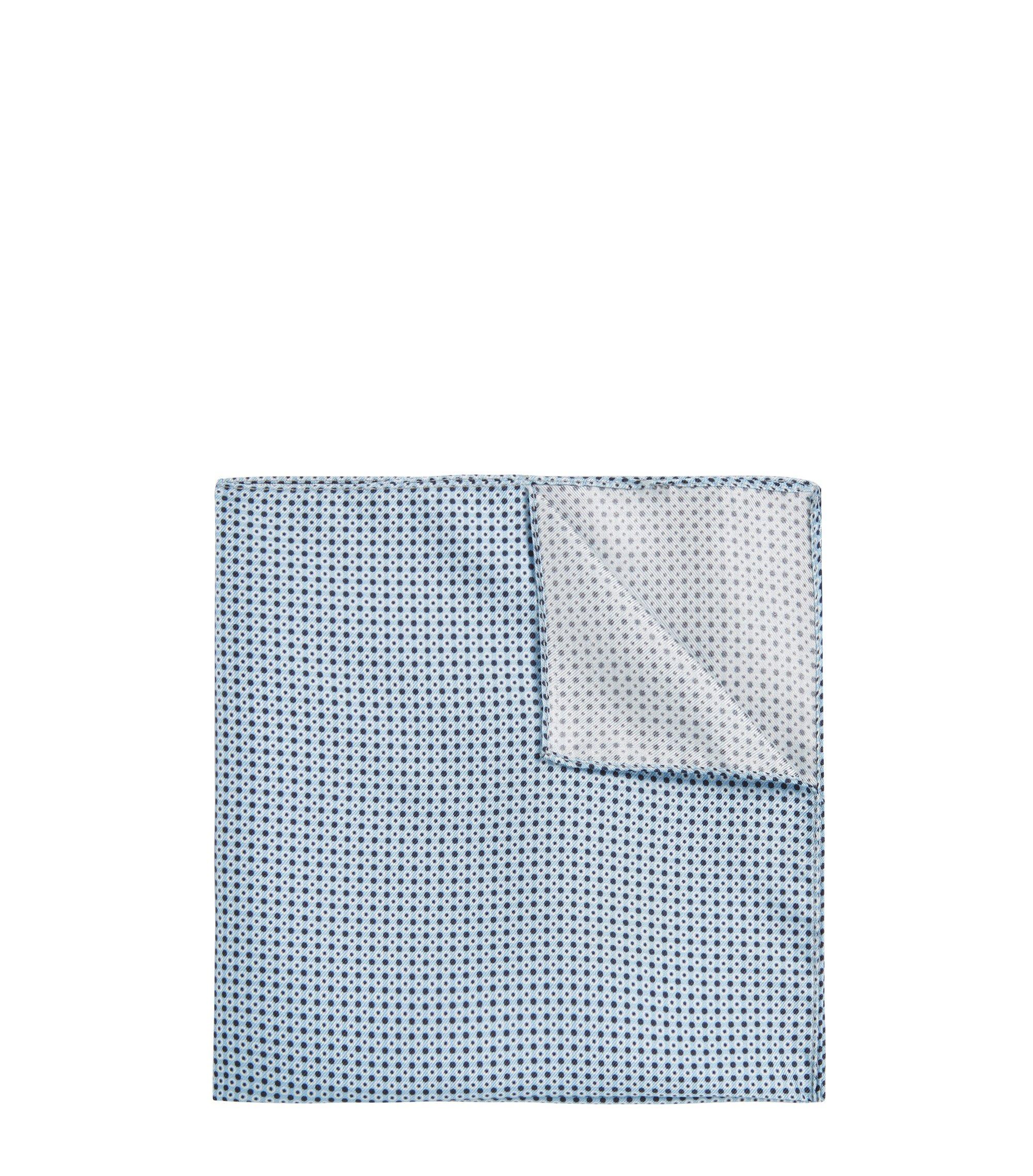 Pañuelo de bolsillo de seda con estampado geométrico, Azul oscuro