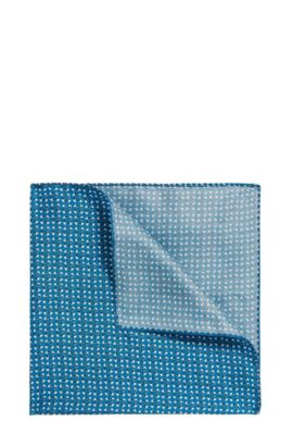 Silk pocket square with geometric pattern, Light Blue