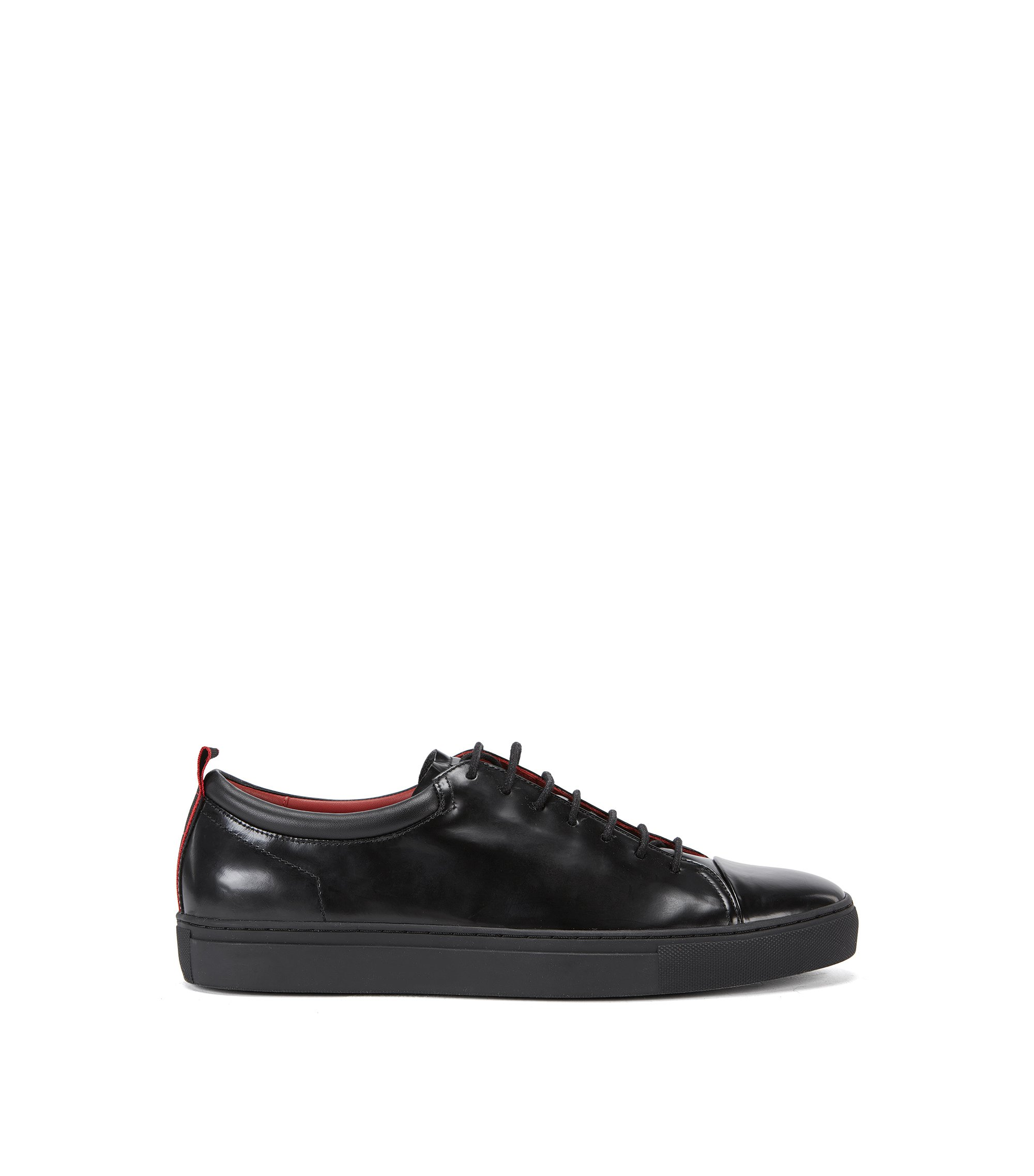 Leather trainers with contrast tape detail, Black