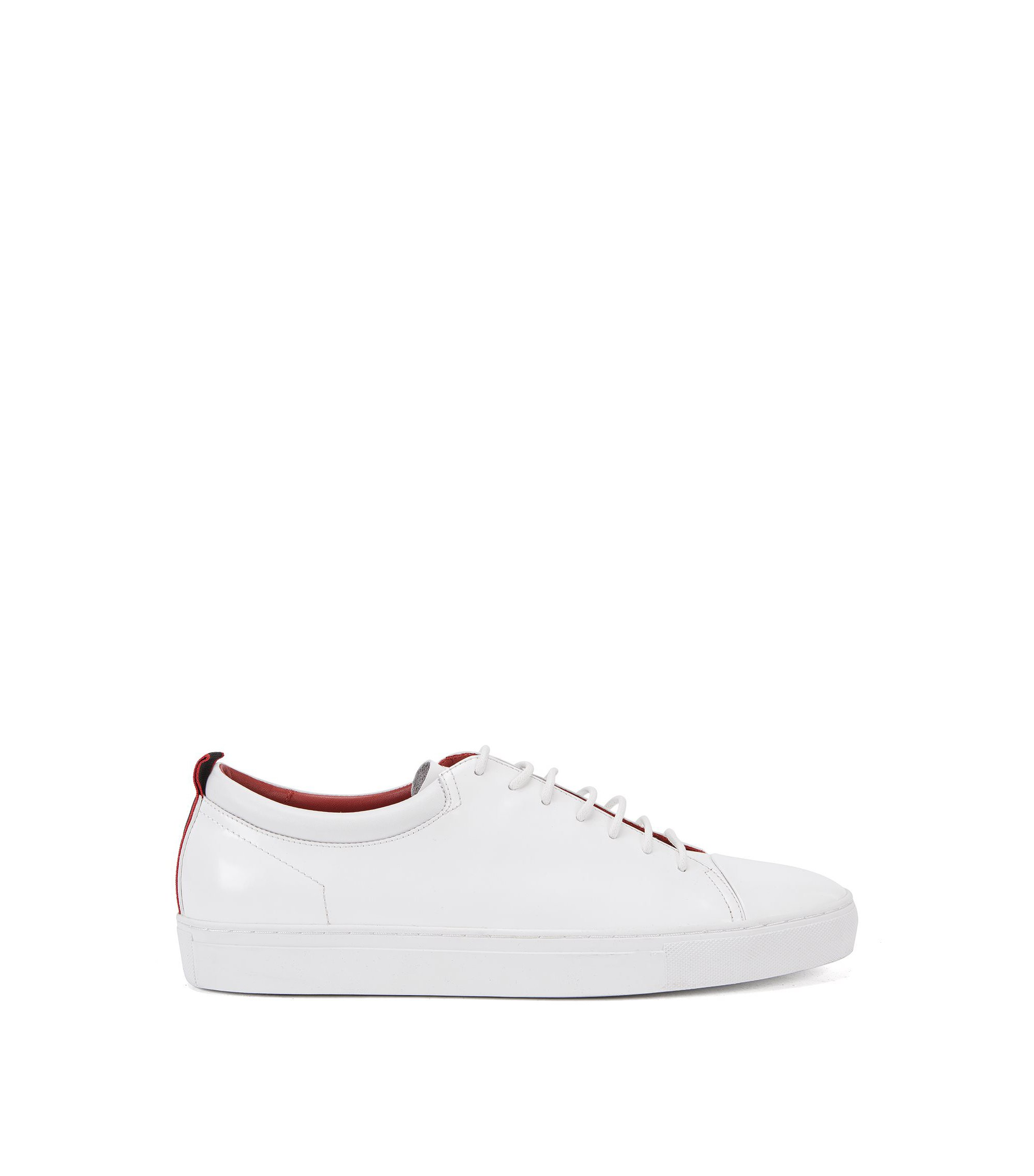Leather trainers with contrast tape detail, White