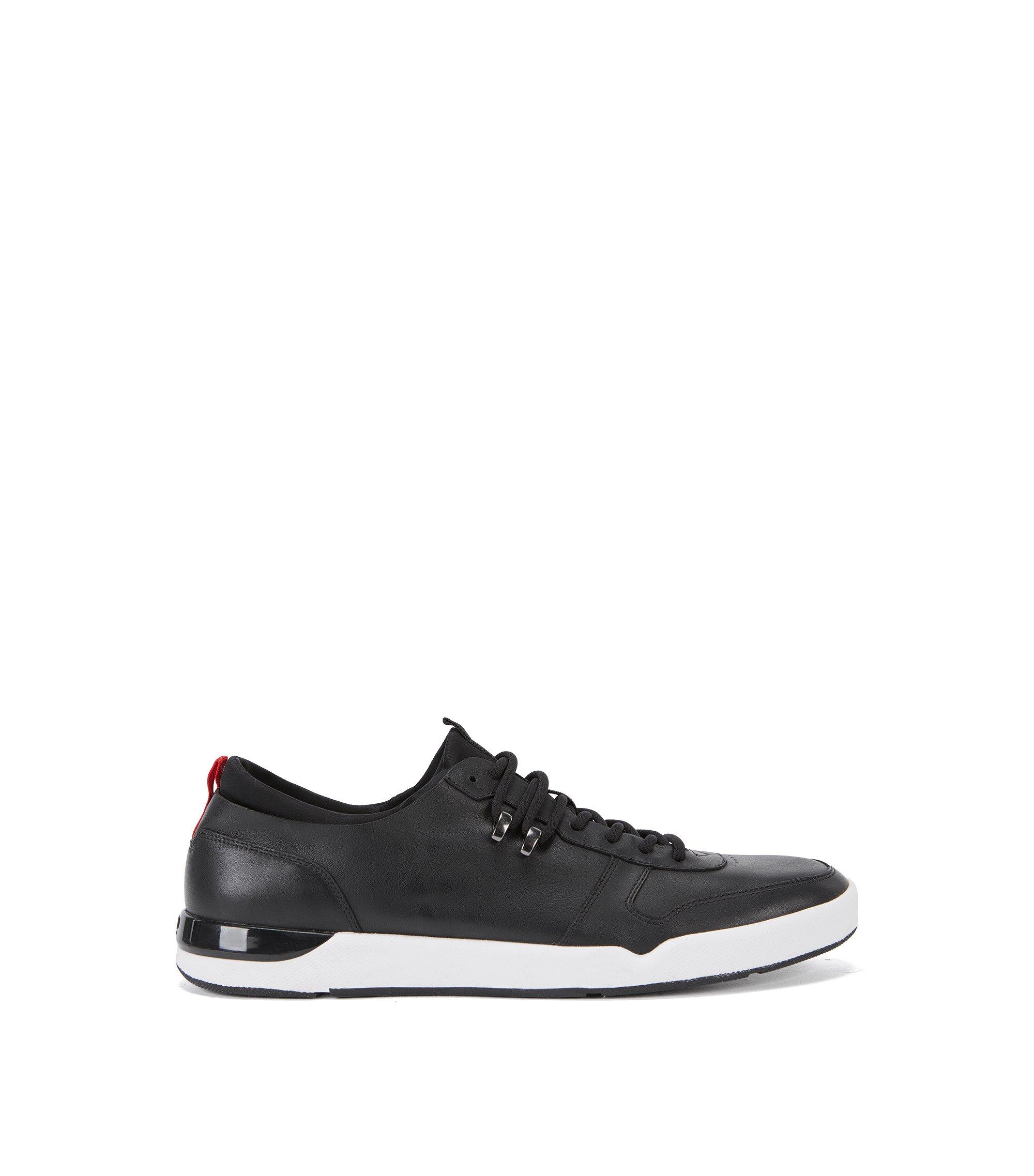 Gestikte sneakers van nappaleer , Zwart