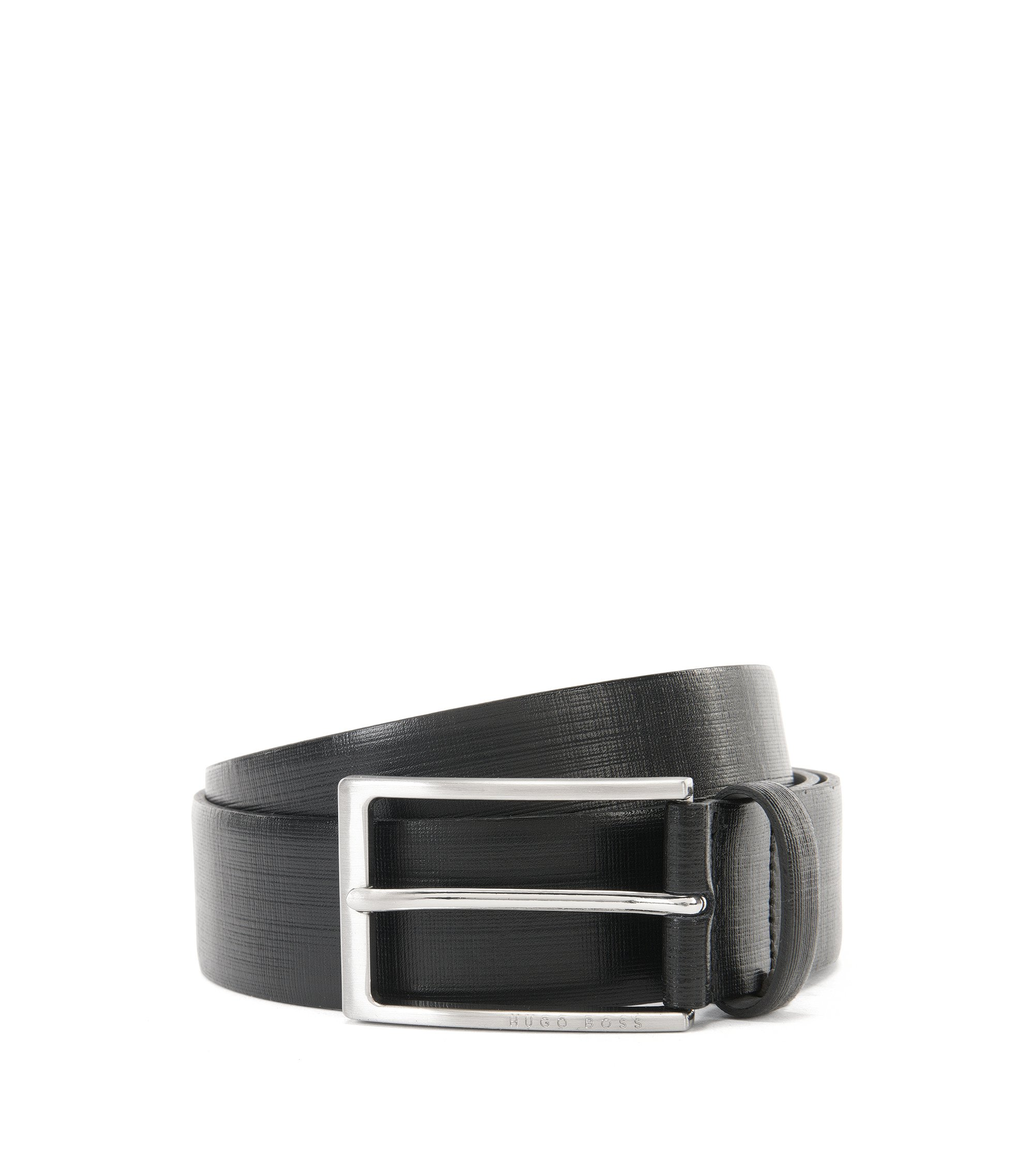 Leather belt with printed detail, Black