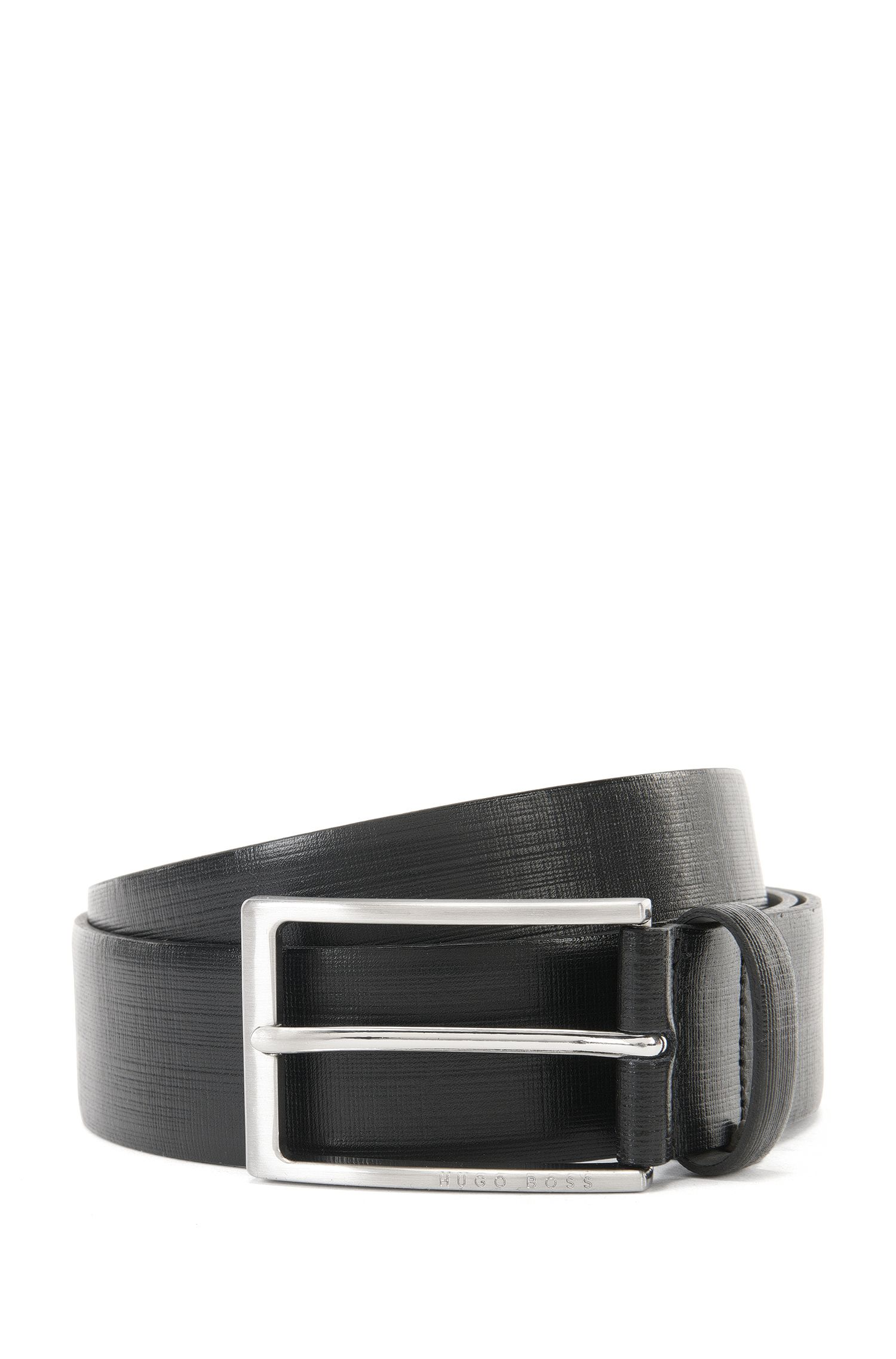 Leather belt with printed detail