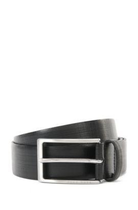 Cinturón de piel con detalle estampado , Negro