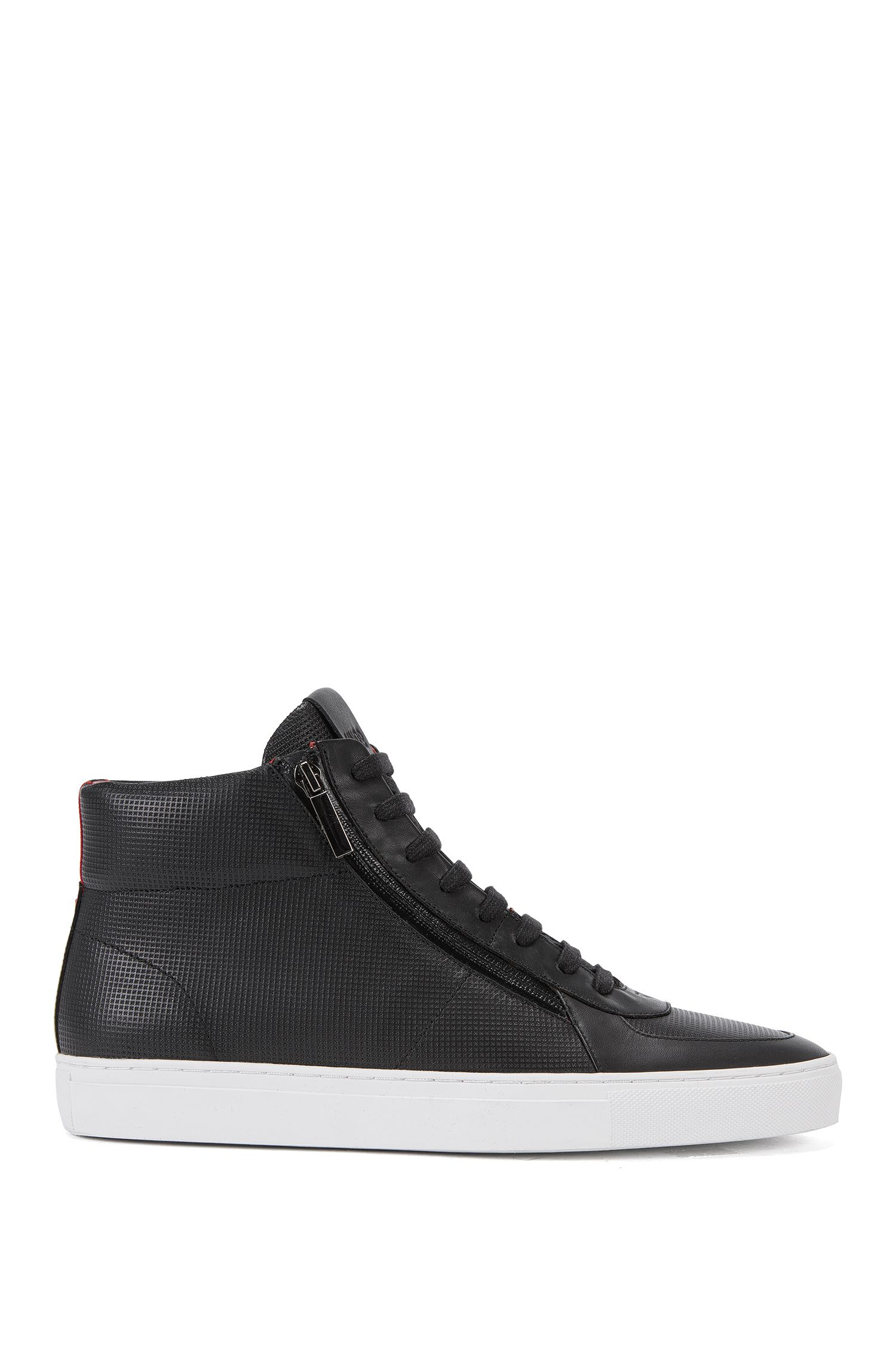Sneakers high-top in pelle goffrata
