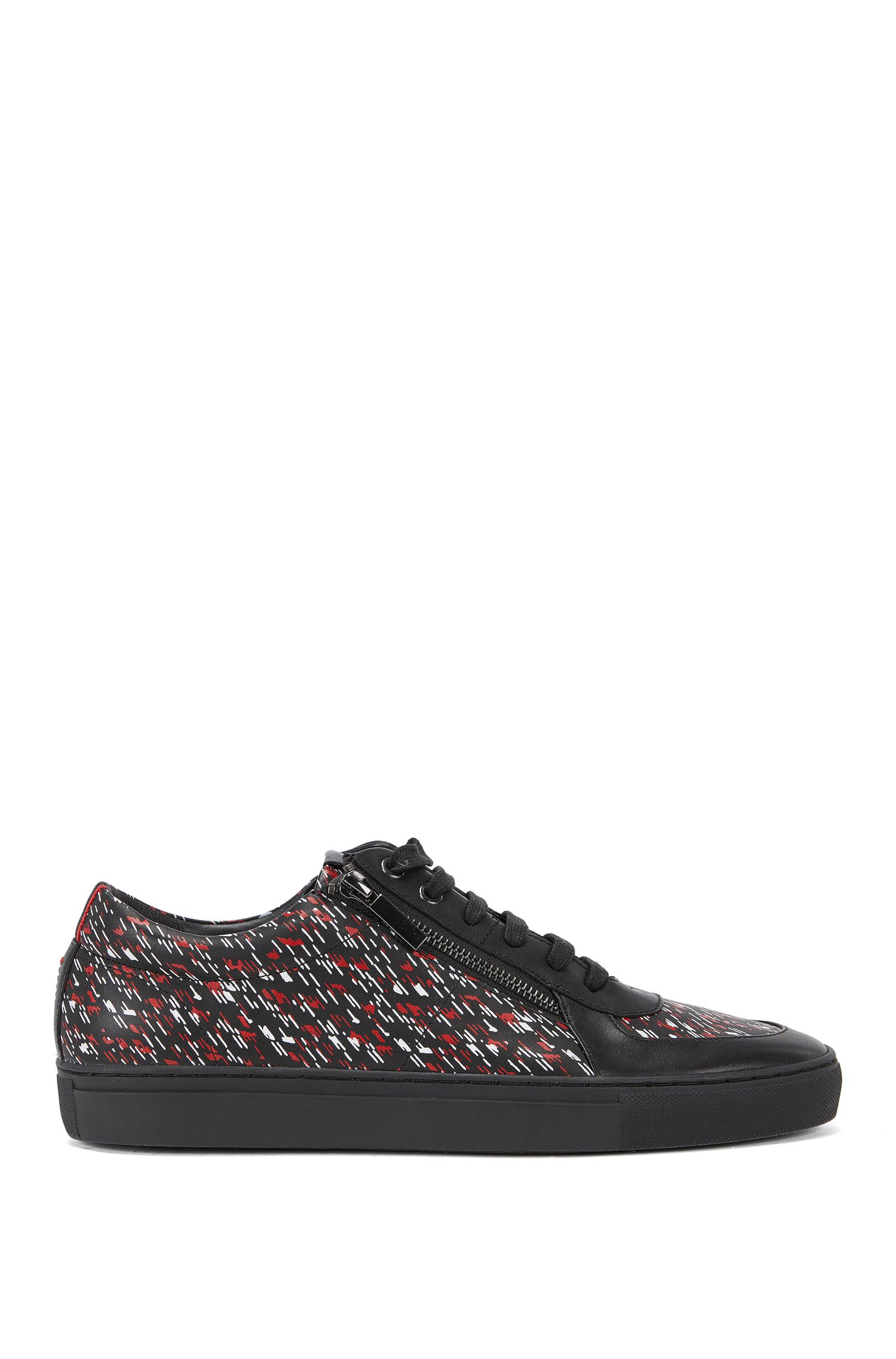 Low-top trainers in printed leather, Black