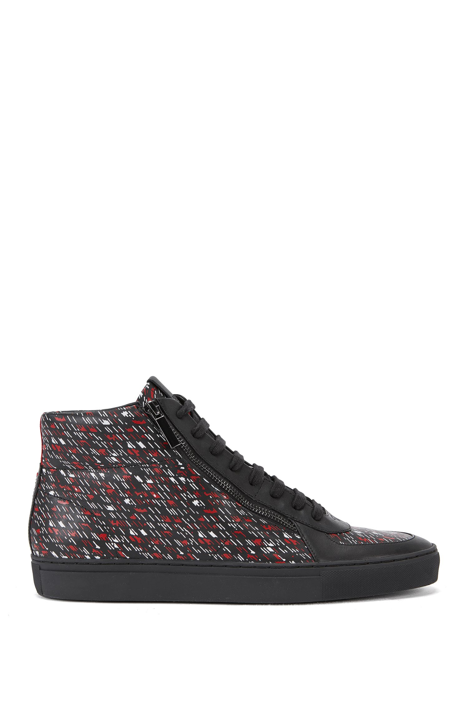High-top trainers in graphic printed leather