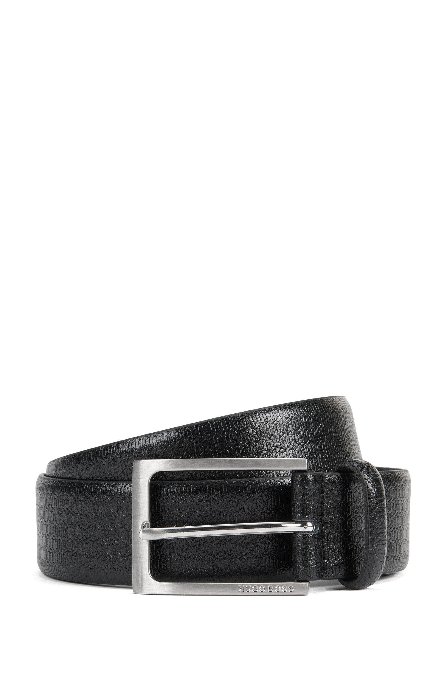 Cintura in pelle con motivo geometrico goffrato